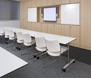 a row of desks