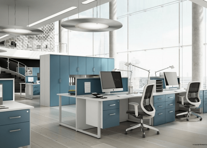 Duck Egg Blue Office Interior