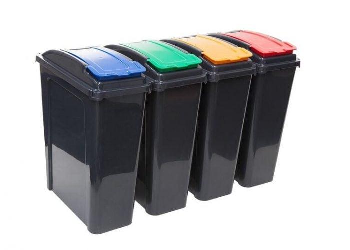Lift lid recycle bins