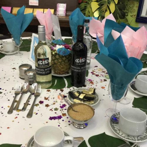 dinner table at the riseley hawaiian ball